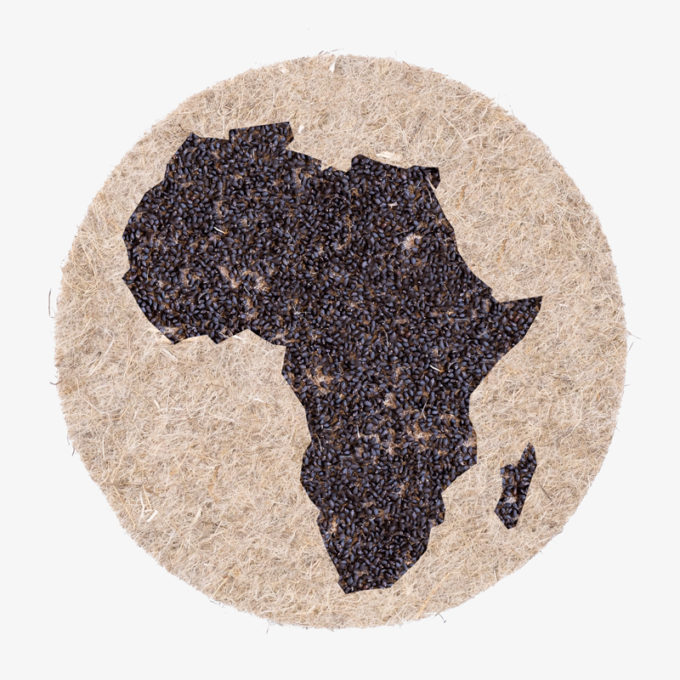 Afrika in seed shape on nature fibre pads