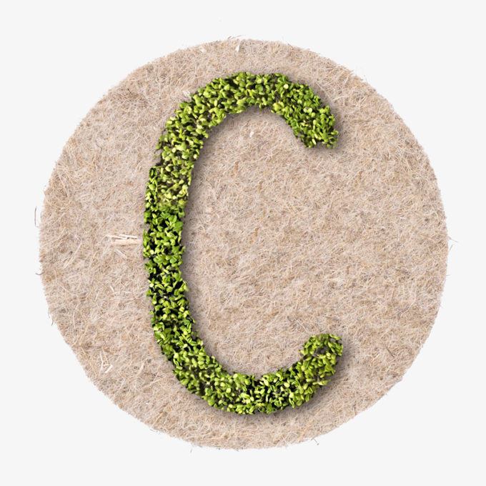 green letter with plants
