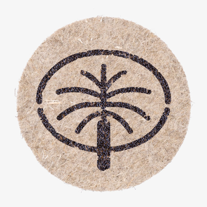 Icon of Palm Jebel island made with seeds to water and grow