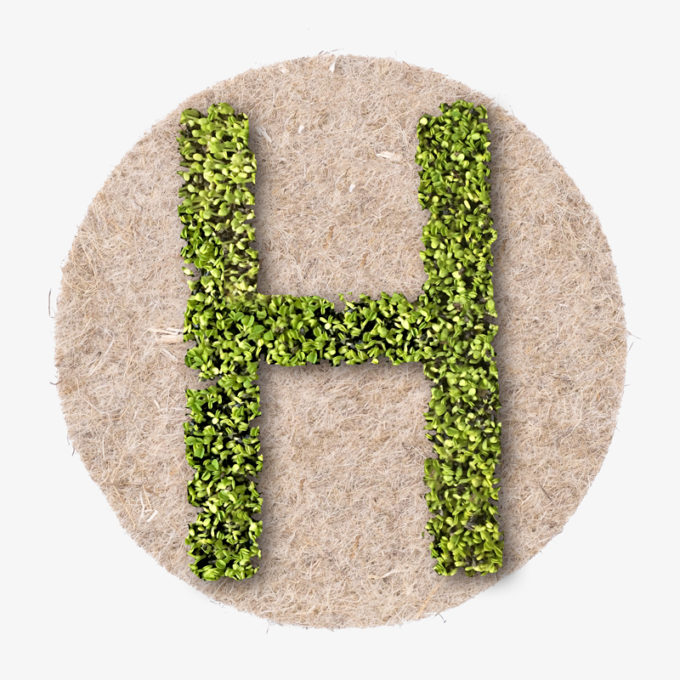green letter in the shape of an H made with fresh plants