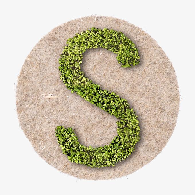S Buchstabe aus wachsenden Pflanzen von Julian Hagen designer wien