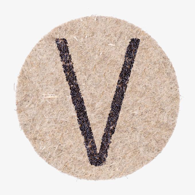 Buchstabe V aus Pflanzensamen