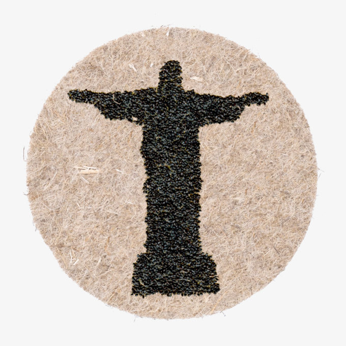 Cristo Redentor made with plant seeds