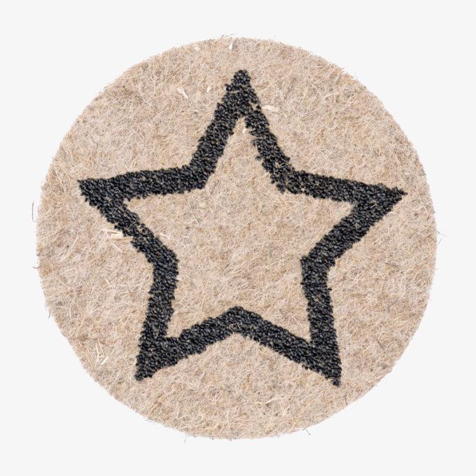Stern aus Pflanzensamen auf Naturfaser Pad